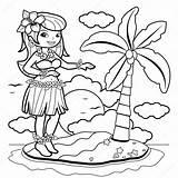 Hula Coloring Hawaiian Dancer Vector Woman Island Illustration Pages Clip Clipart Dancing Summer Aloha Royalty Gograph Dreamstime Skirt Depositphotos Dance sketch template
