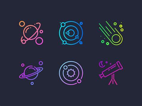 gradient space icons set sketch freebie freebie supply