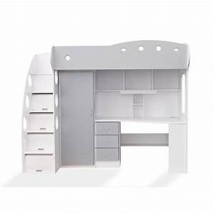 Lit Combiné Armoire : lit mezzanine avec armoire achat vente lit mezzanine avec armoire pas cher cdiscount ~ Teatrodelosmanantiales.com Idées de Décoration