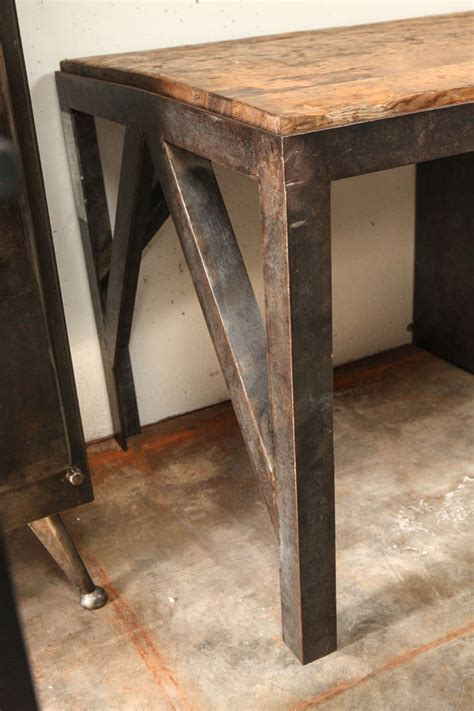 metal and wood desk with drawers 19th century desk in metal with wood top and drawers at