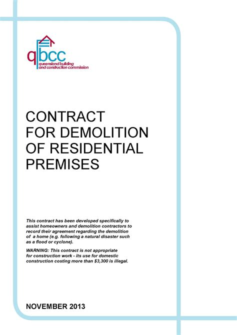 contract  demolition  residential premises