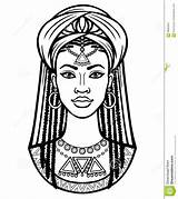 African Woman Portrait Turban Young Drawing Vector Animation Illustration Royalty sketch template