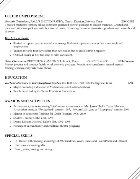 Math Resume Sle by Best Resume Former Teachers Sales Lewesmr
