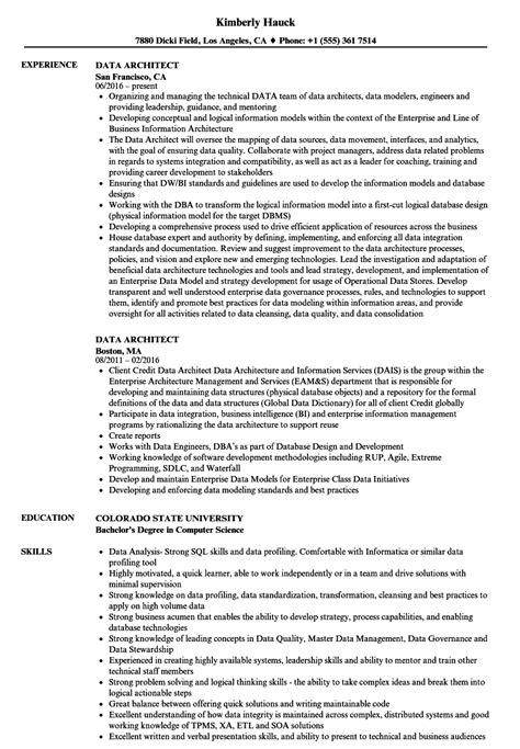 Data Architect Resume by Data Architect Resume Sles Velvet