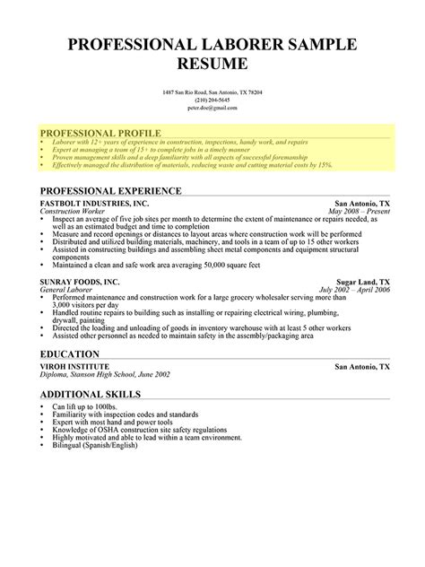 personal profile in a resume professional profile