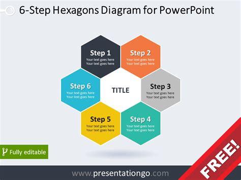 step hexagons diagram  powerpoint