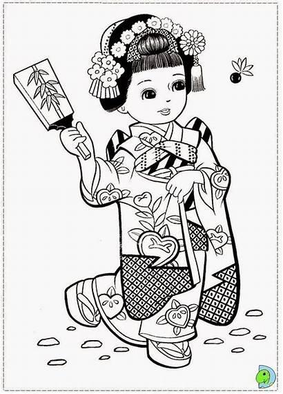 Coloring Japanese Meninas Dinokids Desenhos Japonesas Colorir