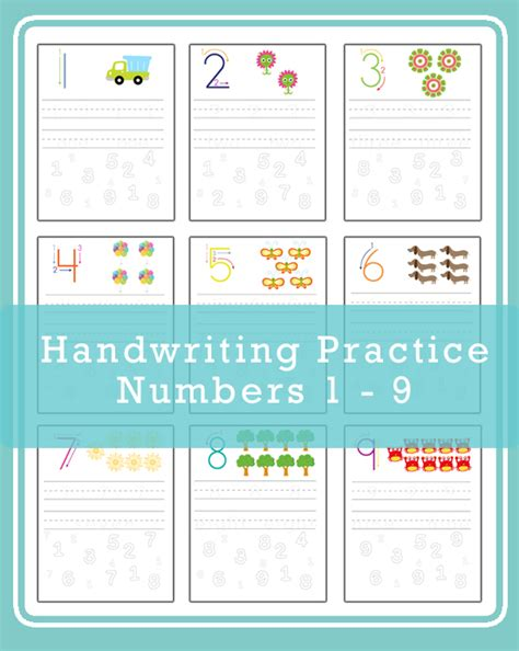 free number handwriting practice sheets for number 1 9