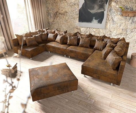 Teppich Vorm Sofa by Clovis Xl Braun Antik Optik Mit Hocker