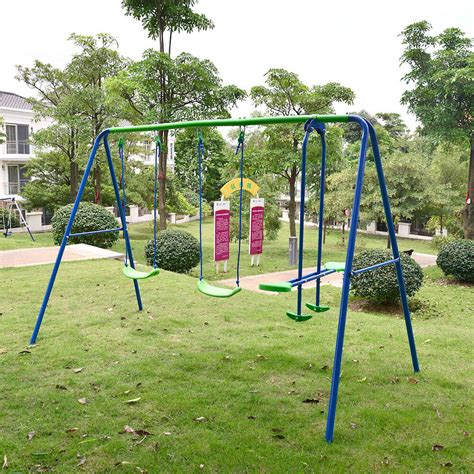 Kid Swing Set by Children Playground Metal Swing Set Swingset Outdoor Play