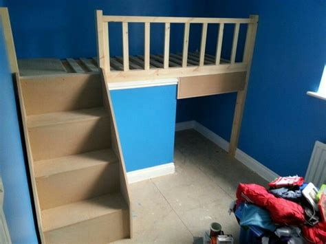 Bed Over Stair Box With Storage And Stairs