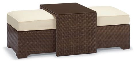 palermo outdoor coffee table with nesting outdoor ottomans