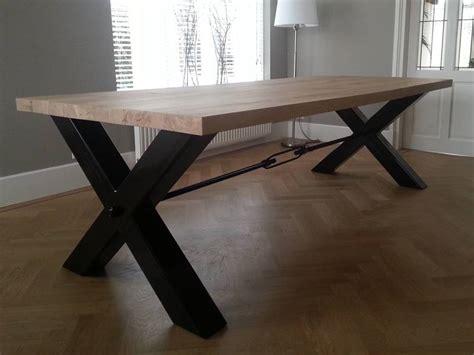 eiken tafel zwart maken moderne tafel x poot eiken zwart staal te boveldt