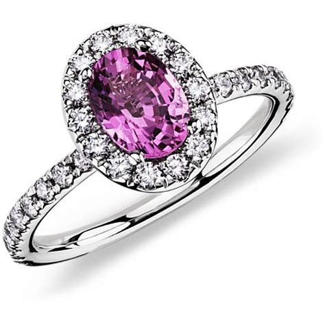 pink sapphire  diamond ring   white gold  mm