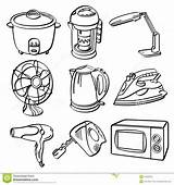 Electric Appliances Sketch Huis Elektrische Toestellen Drawing Elettrici Domestici Apparecchi Clip Illustrator Equipment Stove Tools Contenitore Ventilator Generato Container sketch template
