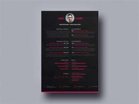 dark creative resume  web designer  julian ma