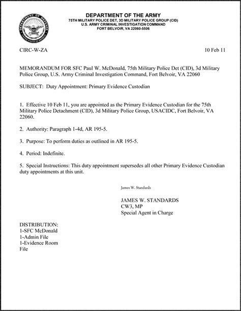Us Army Memorandum For Record Template by Mfr Template Images