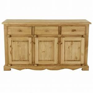 Meuble Bas Bois : meuble bas rustique en pin 3 portes 3 tiroirs grenier alpin ~ Teatrodelosmanantiales.com Idées de Décoration