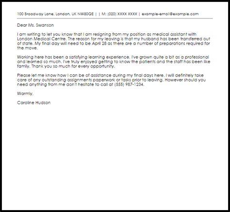 medical assistant resignation letter livecareer