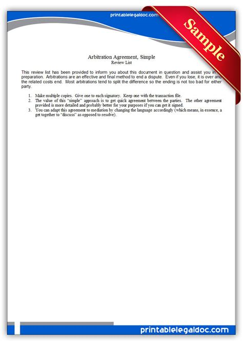 printable arbitration agreementsimple form generic