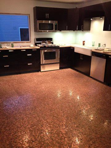 kitchen floor made of pennies floor finished what s fresh pennies 8070