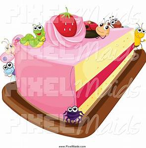 Clipart of a Slice of Strawberry Cake with Bugs by ...