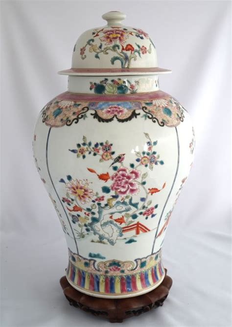 Large Vase With Lid by Large Famille Baluster Vase With Lid China