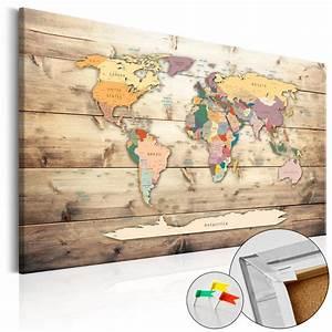 Carte Du Monde En Liège : tableau en li ge mappemonde le monde port e de main ~ Melissatoandfro.com Idées de Décoration
