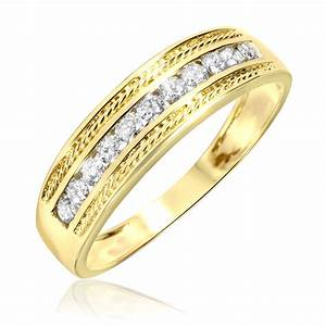 1 3 carat tw diamond men39s wedding ring 14k yellow gold With ring and wedding band