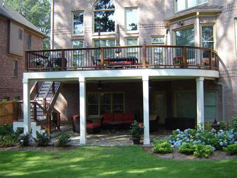 curved deck irregular bluestone patio traditional
