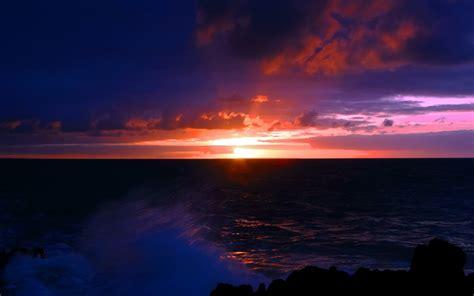 Nature Paysage De Mer Sombre Fond D'écran Coucher De