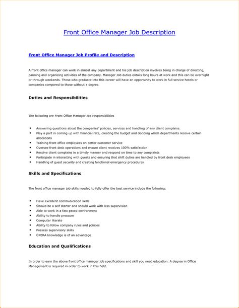 8 front desk job description invoice template download