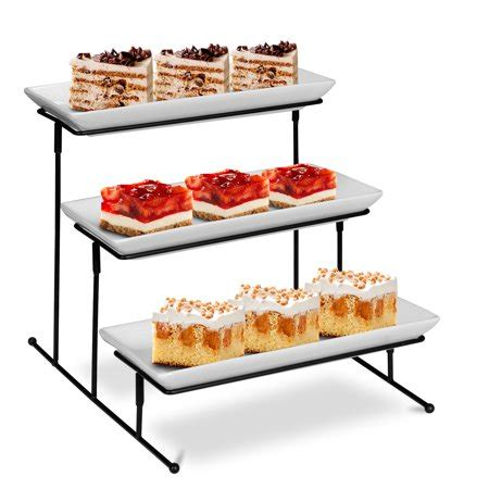 zeny  tier collapsible thicker sturdier plate rack stand  plates  tiered cake