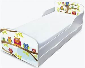 Kinderbett Matratze 140x70 : kinderbett 140x70 mit schublade und mit matratze motiv eulen ~ Frokenaadalensverden.com Haus und Dekorationen