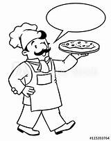 Baker Coloring Funny Cook Chef Pizza Similar Clipart Bread Fotosearch sketch template