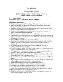 Cleaning Description For Resume by Housekeeper Duties List Anuvrat Info