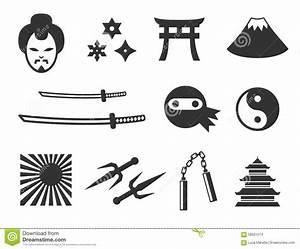 Samurai And Ninja Icons Stock Vector Image 58561074