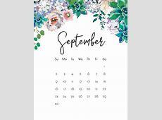 September 2018 Floral Calendar Calendar 2018 Pinterest