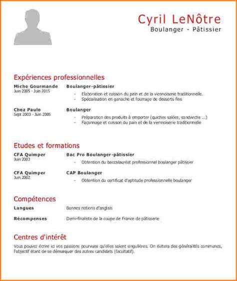 Modele De Curriculum Gratuit by Cv Gratuit Boulangerie
