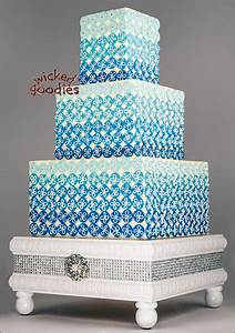 Blue Ombre Bling Wedding Cake