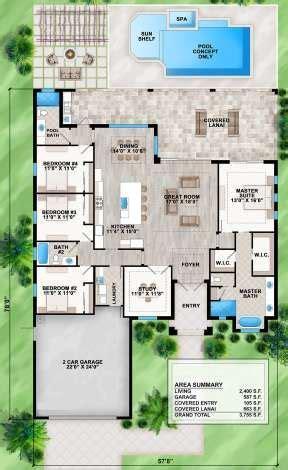 House Plan 207 00082 Coastal Plan: 2 400 Square Feet 4