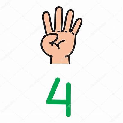 Number Showing Numero Vier Four Mano Fingers
