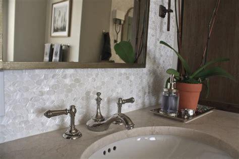 white bathroom vanity  oval tile backsplash hgtv