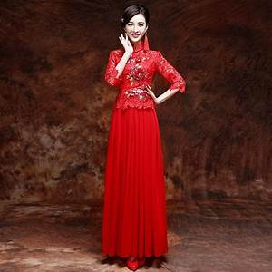 Exquisite Traditional Chinese Wedding Dress with Red Lace ...