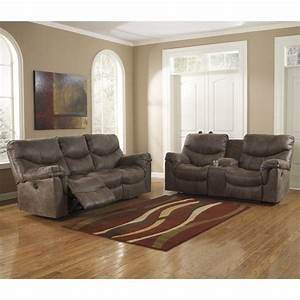 Ashley, Furniture, Alzena, 2, Piece, Reclining, Sofa, Set, In, Gunsmoke, -, Walmart, Com