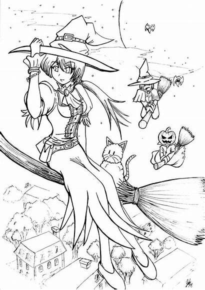 Coloring Witch Pages Lineart Halloween Deviantart Anime