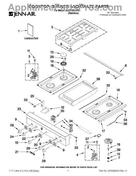 jenn air cooktop parts parts for jenn air jgcp536wp01 cooktop burner and grate