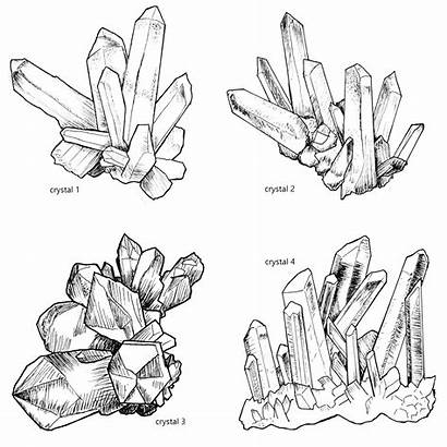 Clipart Crystal Clusters Cluster Lineart Magical Gemstone