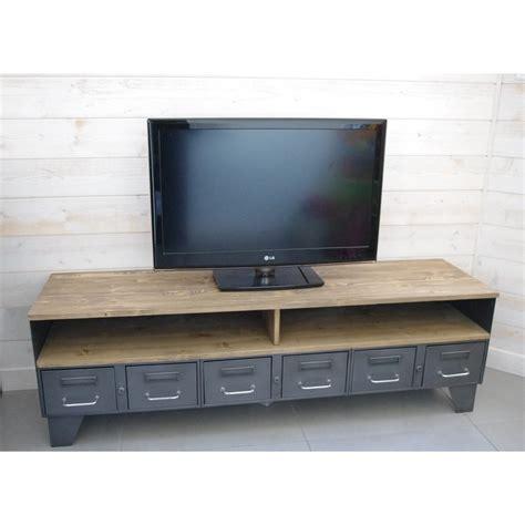 meuble tv industriel bois meuble tv m 233 tal industriel 224 tiroirs et niche pour les