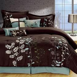 light blue and brown bedding bliss garden 8 piece brown comforter set bedroom ideas